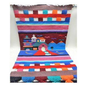 Woven Southwest Missions Fiber Art Wall Hanging
